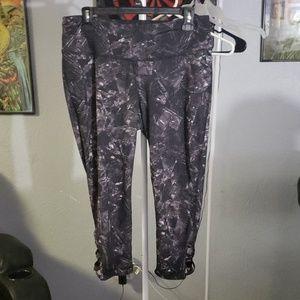 Black and white capri workout pants